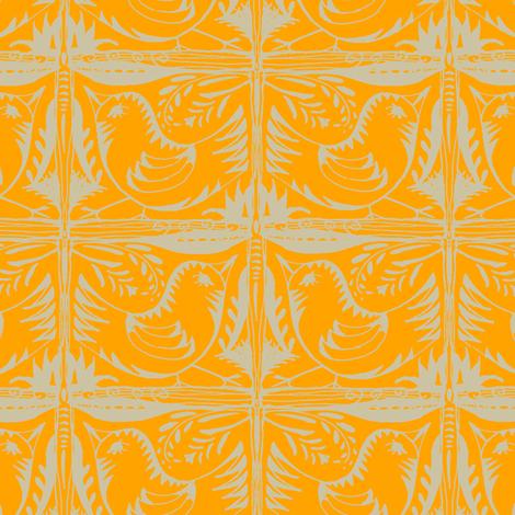 Beady Eyed Bird (beige on mandarin) fabric by wednesdaysgirl on Spoonflower - custom fabric