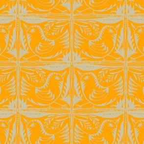 Beady Eyed Bird (beige on mandarin)