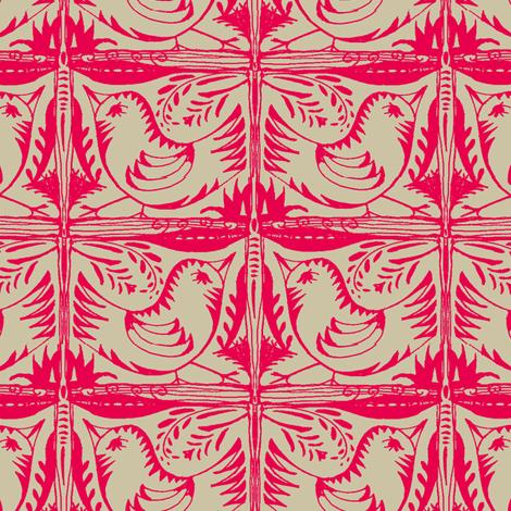 Beady Eyed Bird (red on beige) fabric by wednesdaysgirl on Spoonflower - custom fabric