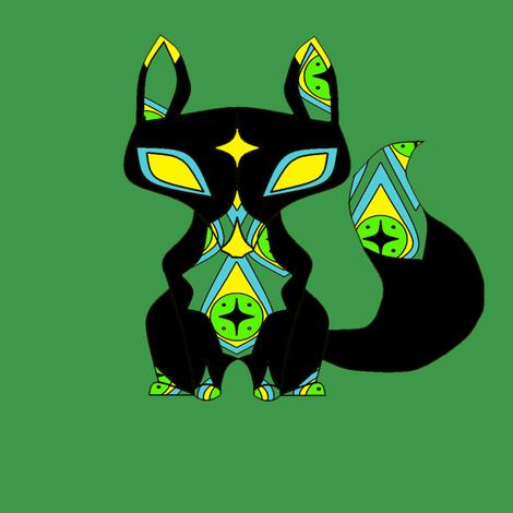 Gypsy Fox in Black fabric by featheralchemist on Spoonflower - custom fabric