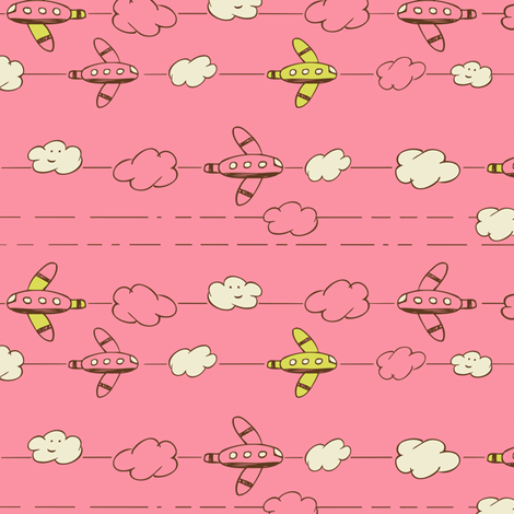 Jet Set - Whimsical Airplanes & Clouds Pink fabric by heatherdutton on Spoonflower - custom fabric