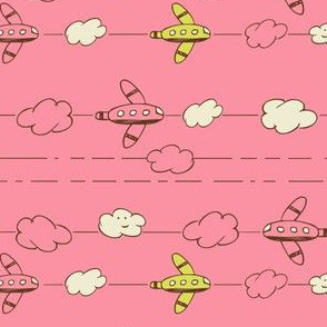 Jet Set - Whimsical Airplanes & Clouds Pink