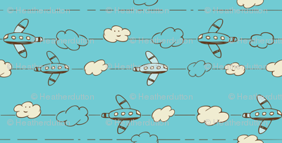 Jet Set - Whimsical Airplanes & Clouds Teal Blue