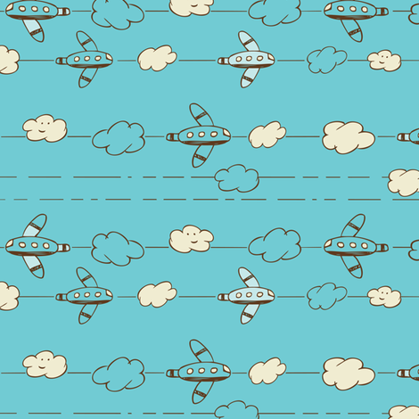 Jet Set - Whimsical Airplanes & Clouds Teal Blue fabric by heatherdutton on Spoonflower - custom fabric