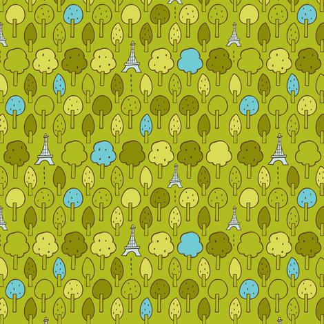 Le Petit Parc - Paris Eiffel Tower Park Green fabric by heatherdutton on Spoonflower - custom fabric