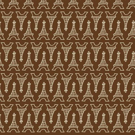Souvenir Shop - Paris Eiffel Tower Brown fabric by heatherdutton on Spoonflower - custom fabric