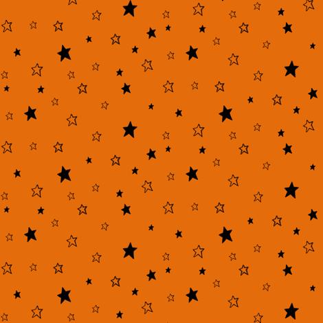 Charcoal Black Stars on Pumpkin Orange fabric by bohobear on Spoonflower - custom fabric