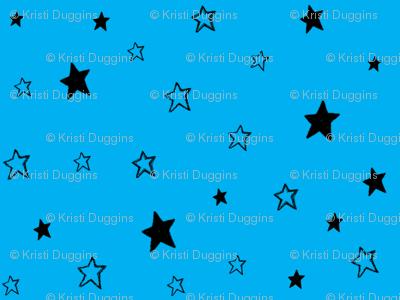 Charcoal Black Stars on Azure Sky Blue