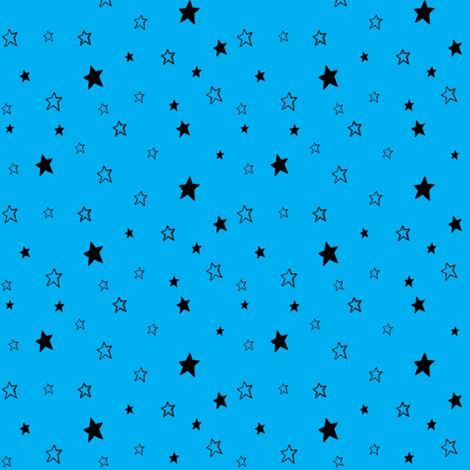 Charcoal Black Stars on Azure Sky Blue fabric by bohobear on Spoonflower - custom fabric