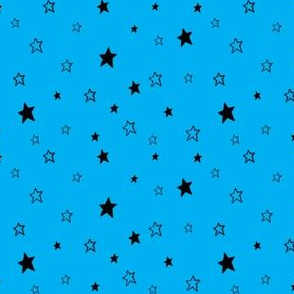 Charcoal Black Stars on Azure Sky Blue