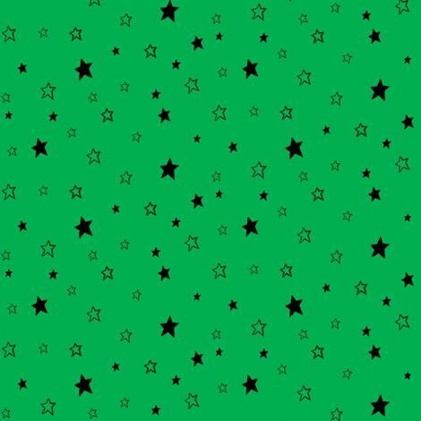 Charcoal black Stars on Kelly Green Background fabric by bohobear on Spoonflower - custom fabric