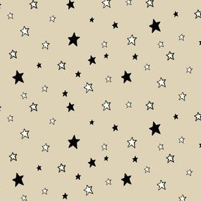 Charcoal Black & white stars on cappuccino Cream
