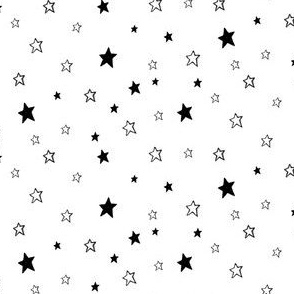Tiny Black and White Stars on White