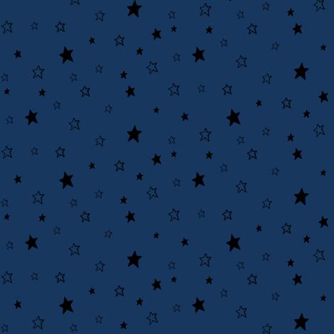Black Stars on Dark Blue fabric by bohobear on Spoonflower - custom fabric