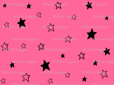 Charcoal Black Tiny Stars on Strawberry Pink