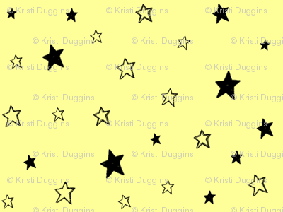 Charcoal Black Stars /Pale Sunshine Lemon Yellow