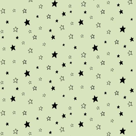 Black Stars on Green, Mint Chocolate Chip fabric by bohobear on Spoonflower - custom fabric
