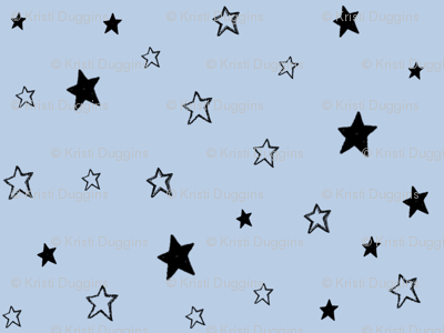 Charcoal Black  Stars on Light Baby Sky Blue