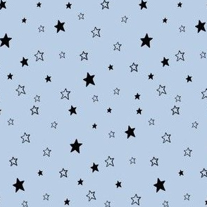 Tiny Black  Stars on Baby Blue