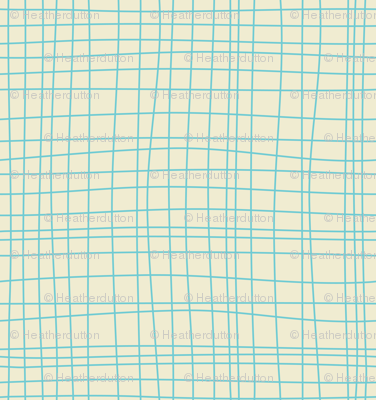 Off The Grid - Plaid Geometric Cream Teal