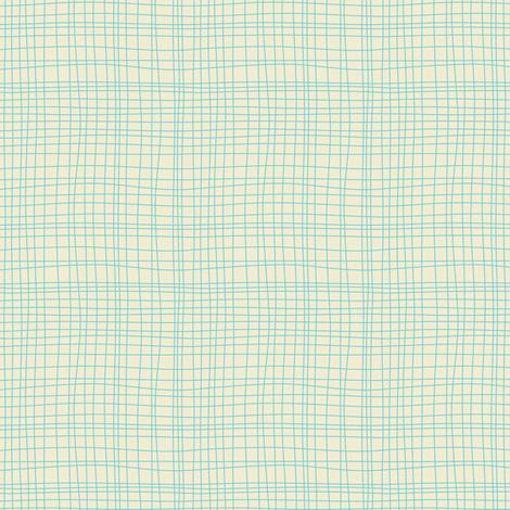 Off The Grid - Plaid Geometric Cream Teal fabric by heatherdutton on Spoonflower - custom fabric