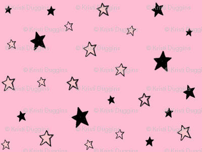Charcoal Black Tiny Stars on Pale Light Pink
