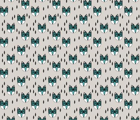 fox // geometric fox head fox fabric grey and blue kids design fabric by andrea_lauren on Spoonflower - custom fabric