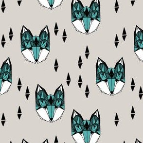 fox // geometric fox head fox fabric grey and blue kids design