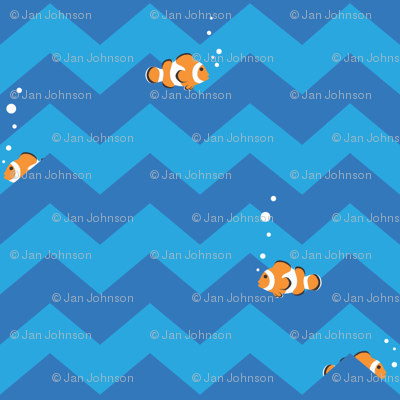 Clownfish in Zigzag Sea (blue and aqua)