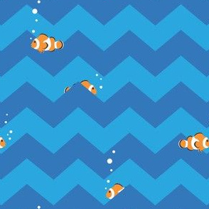 Clownfish in Zigzag Sea (blue and aqua)