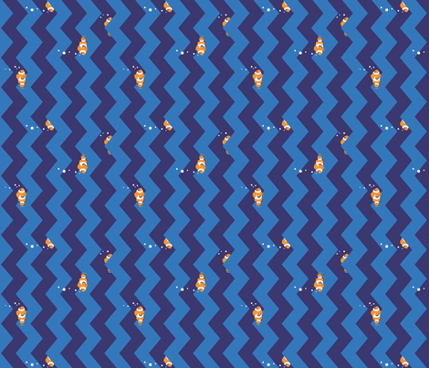 Clownfish in Zigzag Sea (Indigo and Blue, Horizontal) fabric by hootenannit on Spoonflower - custom fabric
