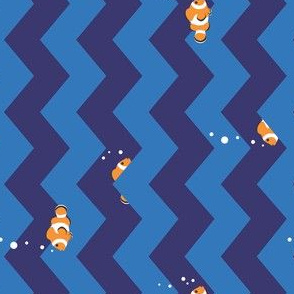 Clownfish in Zigzag Sea (Indigo and Blue, Horizontal)