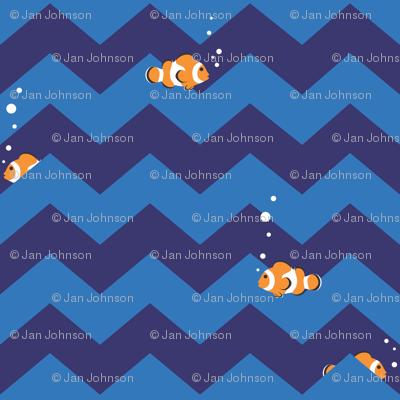 Clownfish in Zigzag Sea (Indigo and Blue - Large)