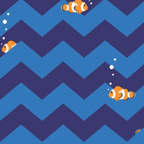 Clownfish in Zigzag Sea (Indigo and Blue - Large)