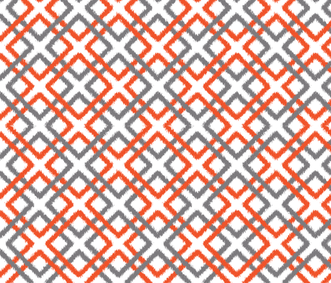 Weave Ikat in Gray and Tangerine fabric by fridabarlow on Spoonflower - custom fabric