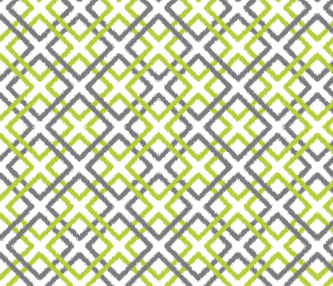 Ikat Lattice in Green and Gray fabric by fridabarlow on Spoonflower - custom fabric