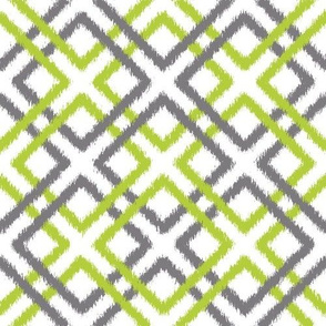 Ikat Lattice in Green and Gray