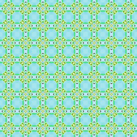 Lime_Buds_on_aqua fabric by fireflower on Spoonflower - custom fabric