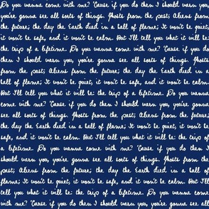 Handwritten White Script Quote Text on Police Box Blue