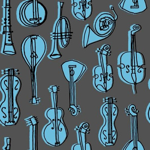 Music Instruments - Charcoal/Soft Blue