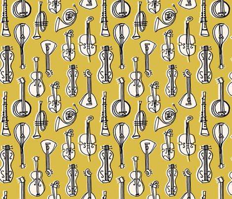Music Instruments - Soft Blue/Champagne fabric by andrea_lauren on Spoonflower - custom fabric