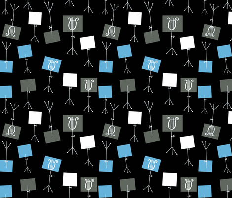 Music Stands - Black/Soft Blue/Champagne fabric by andrea_lauren on Spoonflower - custom fabric