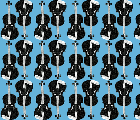 Violins - Soft Blue/Black fabric by andrea_lauren on Spoonflower - custom fabric