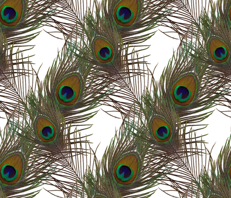 The Fabulous Peacock White Diamond fabric by peacoquettedesigns on Spoonflower - custom fabric