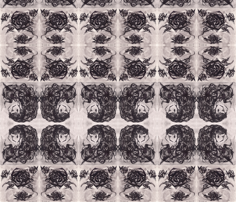 Ink Roses and Curls fabric by art_rat on Spoonflower - custom fabric