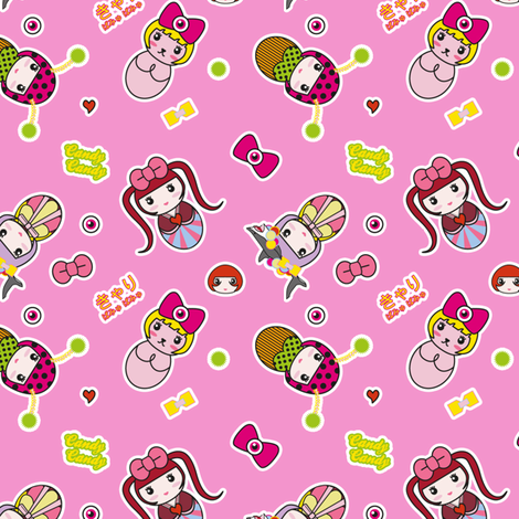 Kyary Kokeshi (Pink) fabric by marcelinesmith on Spoonflower - custom fabric