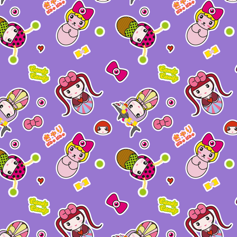 Kyary Kokeshi (Purple) fabric by marcelinesmith on Spoonflower - custom fabric