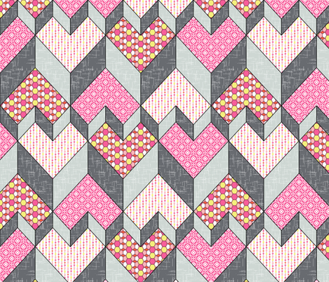 Heart of the Chevron - Pink Glass fabric by inscribed_here on Spoonflower - custom fabric