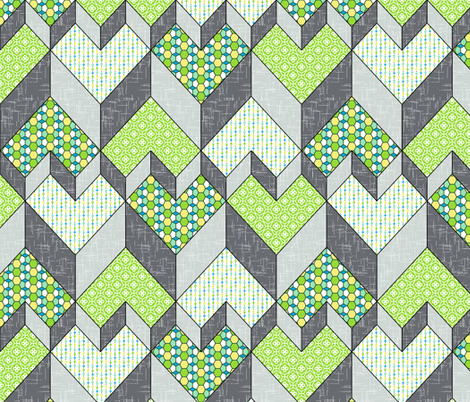 Heart of the Chevron - Green Glass fabric by inscribed_here on Spoonflower - custom fabric