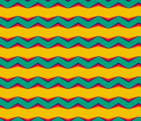 Teal-Red 3d Chevron and Golden Bands fabric by animotaxis on Spoonflower - custom fabric